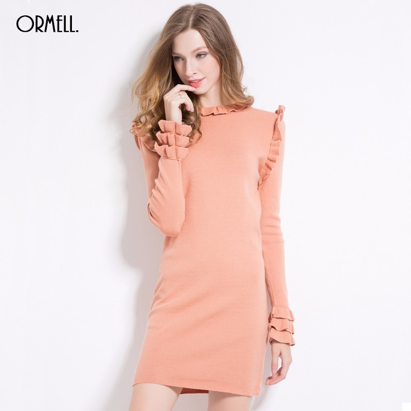 ORMELL Casual Long Knitted Sweater Dress Women Cotton Ruffles Slim Bodycon Dress Pullover Female Retro Autumn Winter Dress 2017