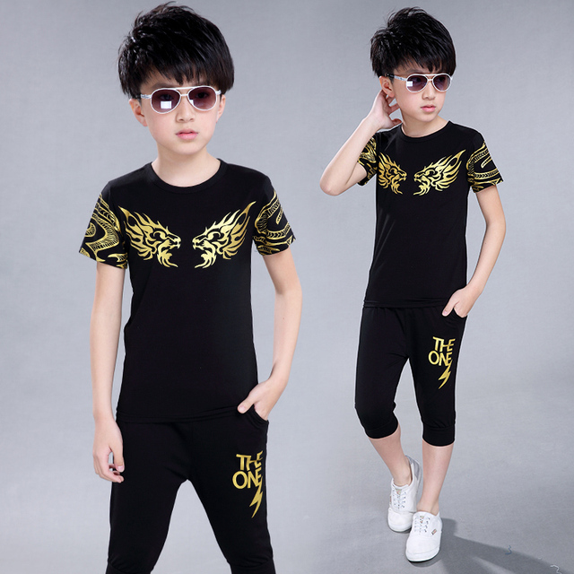 New Hot Sale Summer Kids Boys T Shirt Shorts   fashion Children Short Sleeve Shirt Boys Clothing Set Kids Boy Sport Suit Outfit