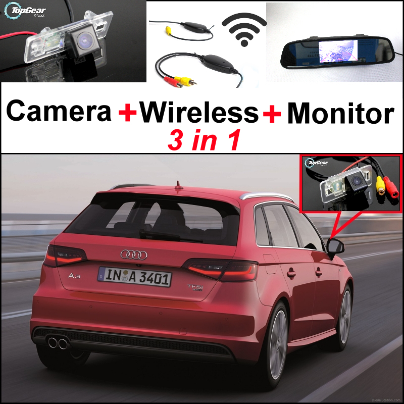 3in1 Special WiFi Camera + Wireless Receiver + Mirror Monitor Easy DIY Parking System For Audi <font><b>A3</b></font> 2014~2015