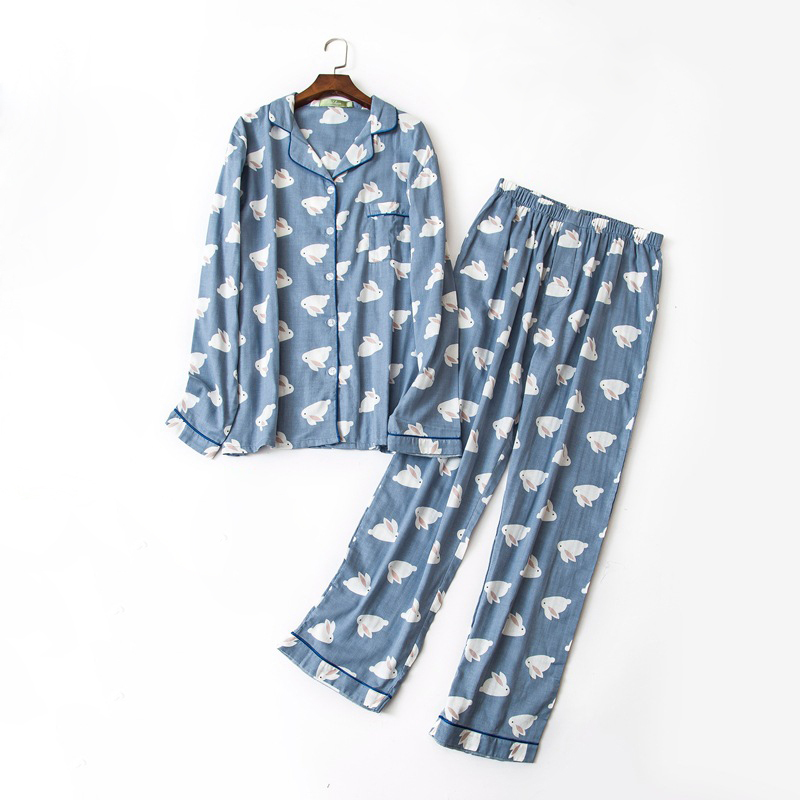 Male 100% Gauze Cotton Pajama Sets Casual Soft Blue Cartoon Plus Size Pyjamas Sets Men Sleepwear Pijamas Sexi Hombres Homme
