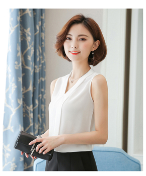White J62650 New Arrival Women Sleevess Summer Chiffon Shirt