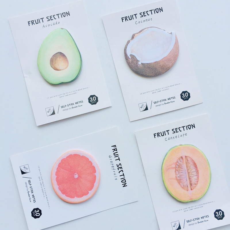 30 Pages Fresh Orange Coconuts Avocado Fruits Memo Pads Sticky Notes Stationery