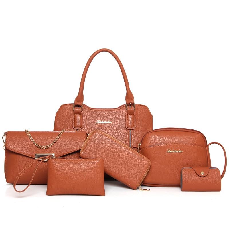 6Pcs/Set Ladies Composite Bag Shoulder Bag Woman Casual Crossbody Handbag Women Messenger PU Leather Tote Bag