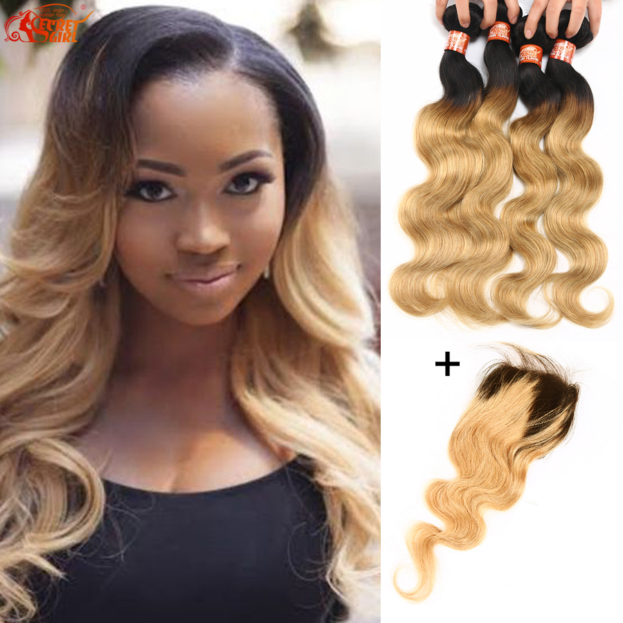 Brazilian Body Wave Ombre Hair 4 Bundles With 4x4 Closure