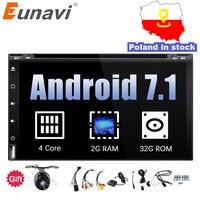 Eunavi 4 ядра 2din android 7,1 8,1 dvd плеер автомобиля универсальный gps навигации аудио стерео радио с wi fi + bluetooth камера usb