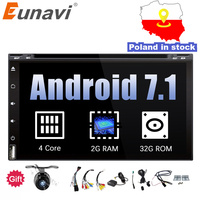 Eunavi Quad Core 2din android 7.1 8.1 car dvd player universal GPS Navigation audio stereo radio with WIFI+bluetooth+camera+usb