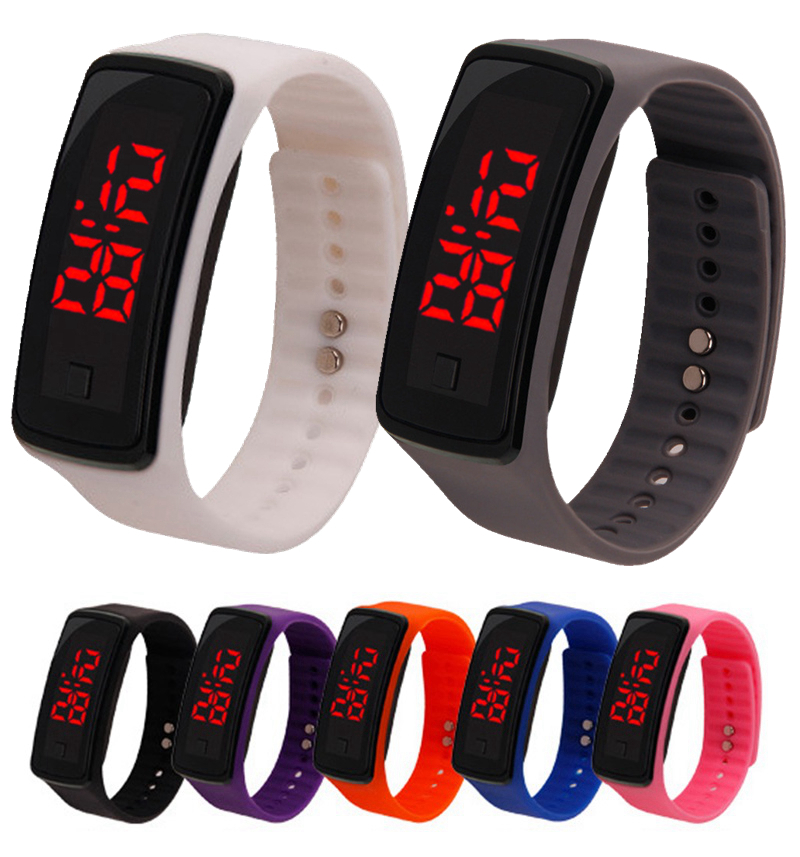 Watches Fashion Mens Women Kids Students Silicone Rubber Soft Sport Led Digital Watches Touch Screen Boys Girls Bracelet Wrist Watches