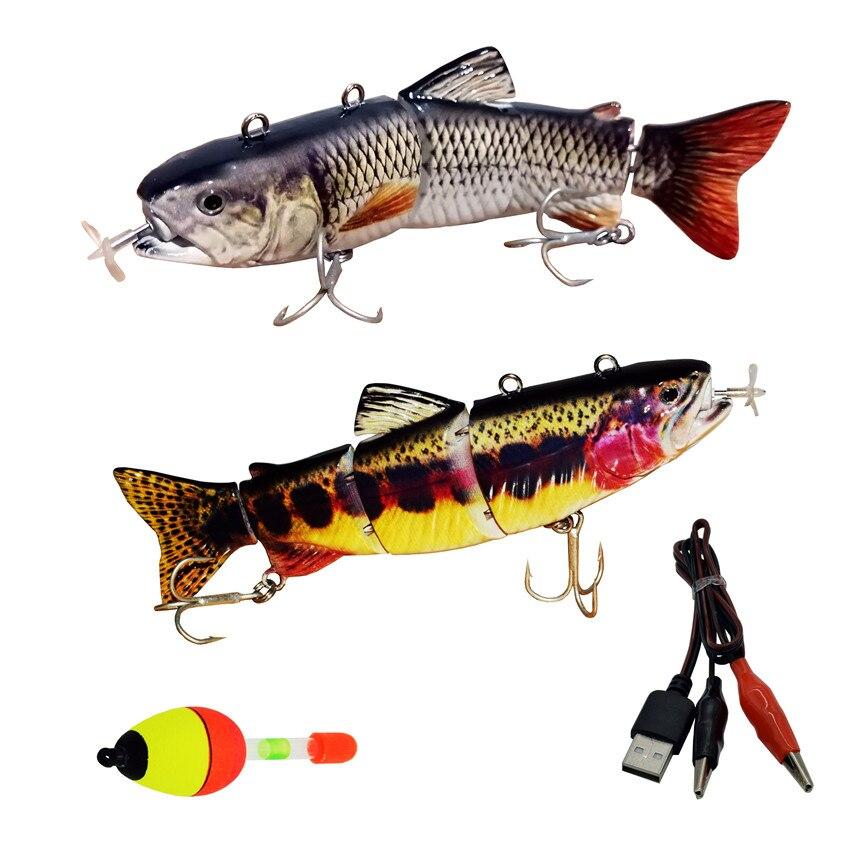 5.12 polegada isca de pesca elétrica carregamento usb isca 4 seção swimbait crankbait pesca enfrentar peixe vívido