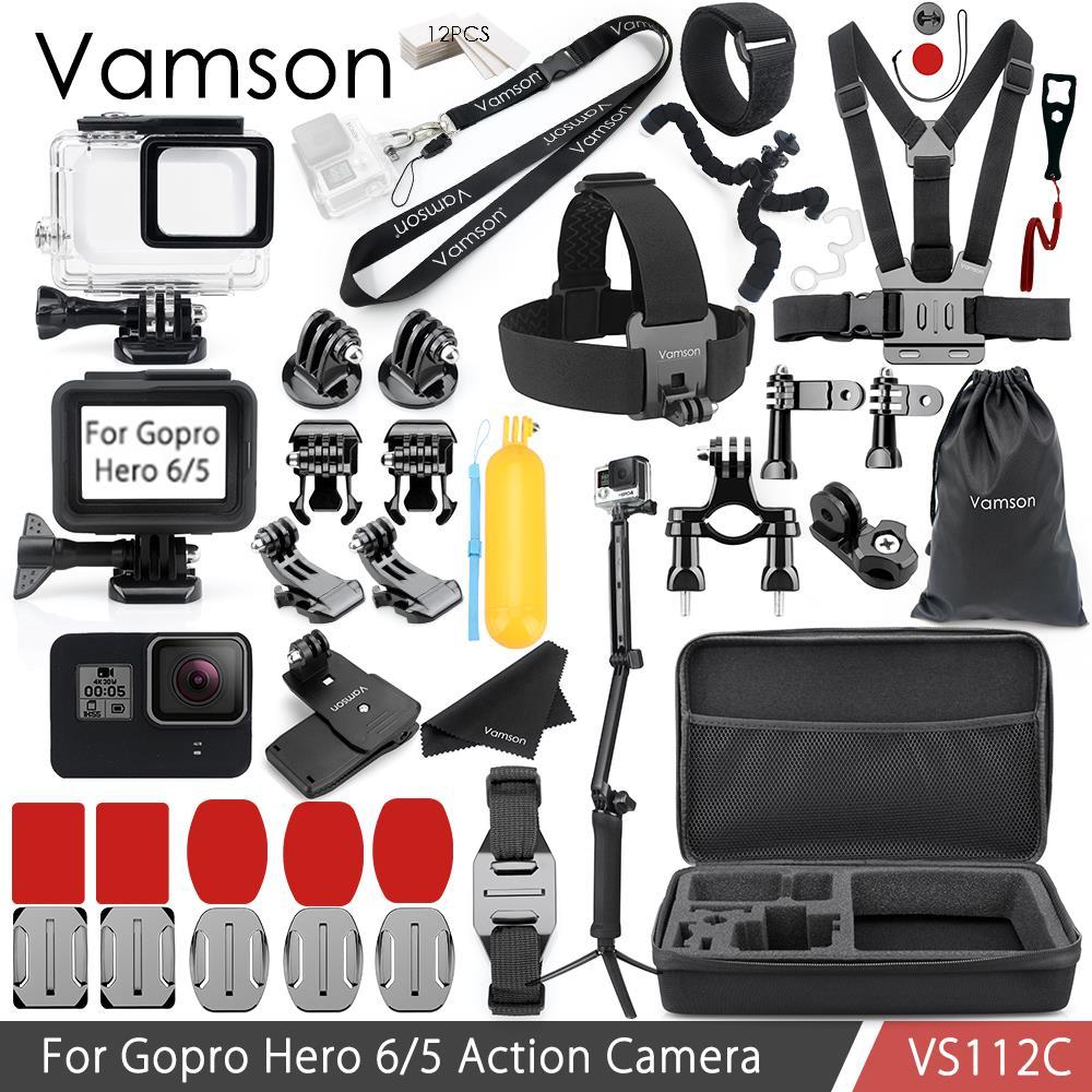 Vamson for Gopro Hero 6/5 for Gopro accessories kit Waterproof housing case Standard Frame Neck Strap VS112C gopro bacpac backdoor kit for standart housing