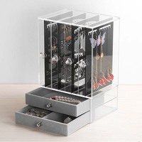 Fashion Earrings Box Display Acrylic Jewelry Display Box Earrings Organizer Drawer Clear Make up box Rings Holder Organizer