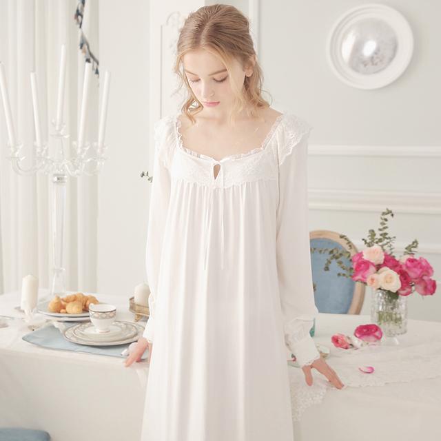 Sweet Lace Princess Nightgowns Long Sleeve Cotton Pink White ...