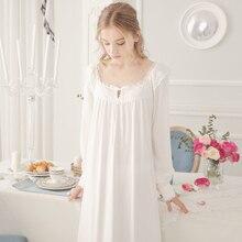 Doce Princesa Rendas Nightdress Nightgowns Longo-Luva de Algodão Rosa Branca Real Retro Longo Sleepwear Senhora Elegante Vestido de Dormir