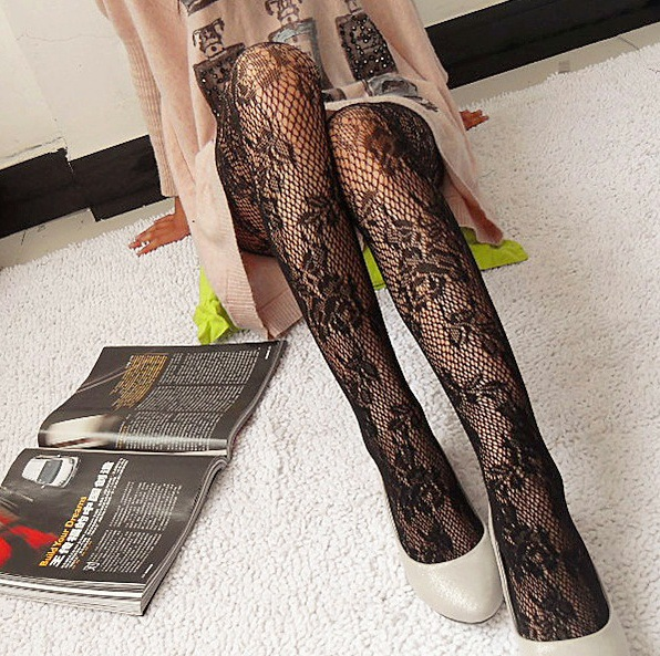 Hot Fashion Women Sexy Black Fishnet Pattern Jacquard Calcetines Leg Warmers Stockings Pantyhose Tights 1pcs dww09