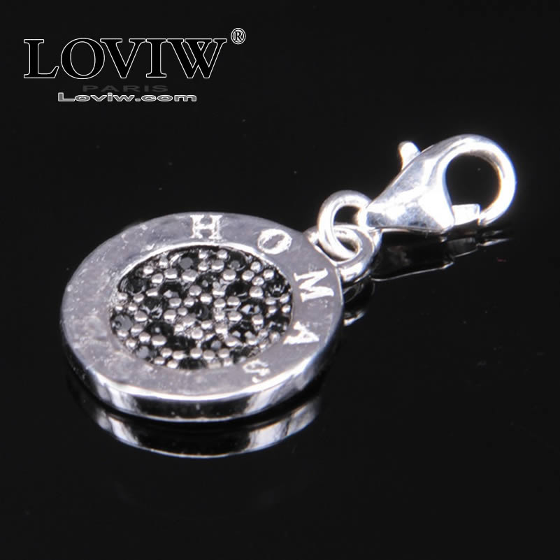 Women style black zircon Small Round Card Charms with Lobster Clasp Fit Bracelet Charm Party European NEW thomas style Jewelry