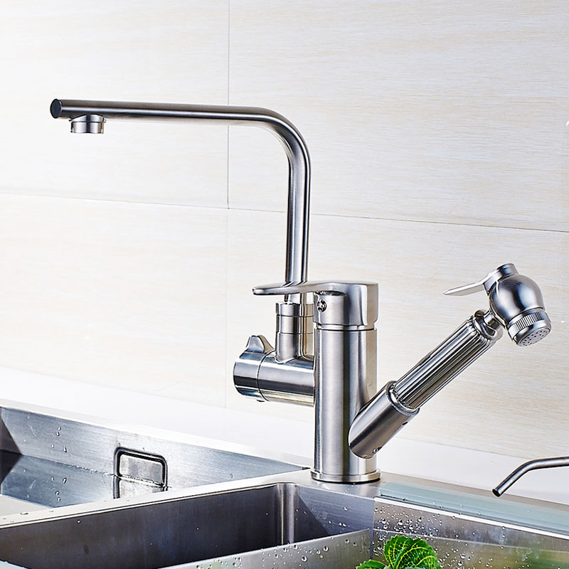 Brushed Nickel Kitchen Faucet Brass Basin Sink faucet Mixer Tap Cold ...