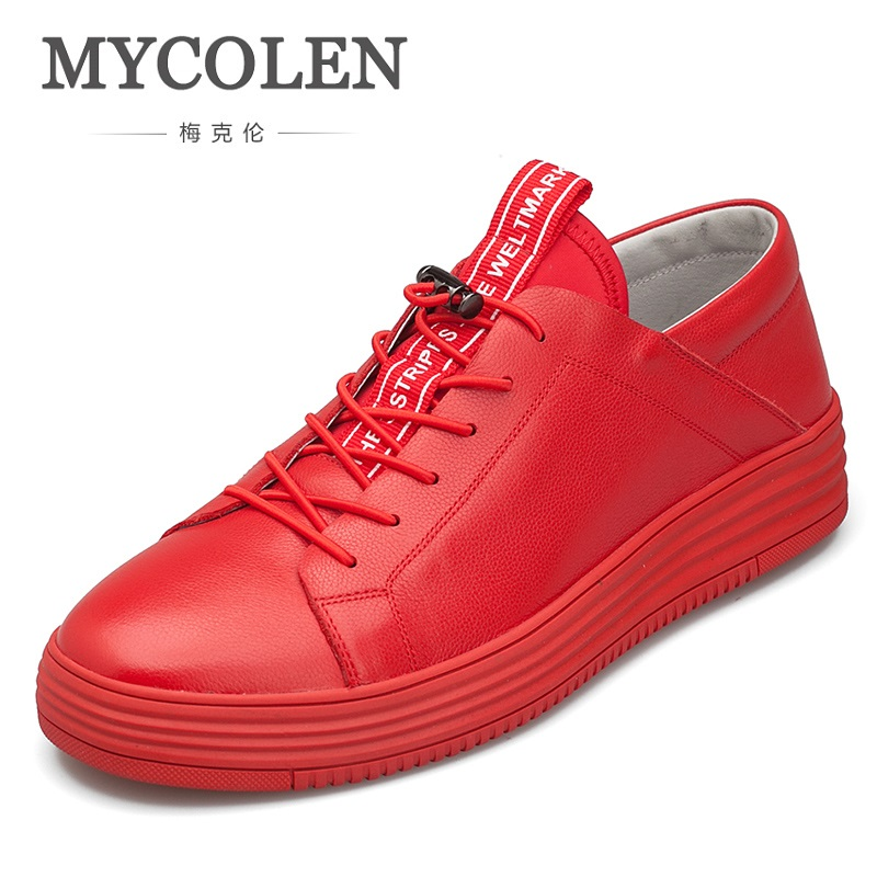 MYCOLEN New Luxury Brand Men Shoes Leather Casual Black Shoes Mens Spring Autumn Lace Up Men Fashion Sneakers Tenis Masculinos