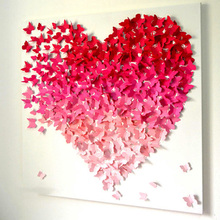 Colorful DIY 3D Butterfly Wall Stickers Home Decor Heart Shape PVC Decal Room Wedding Decoration Valentines Day woodgrain heart pattern valentines day door stickers
