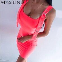 AOSSILIND Spaghetti strap solid bodycon mini dress 2019 summer women fashion sexy backless party club slim streetwear
