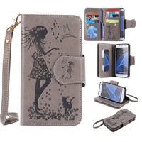 Embossing Woman Mirror Luxury Practical Flip 9 Card Slot PU Leather Wallet Case Cover For Samsung