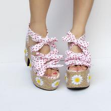 d75591a55 Princess sweet lolita shoes Light luxury single shoes bow ties flowers  pastoral flowers light and rough