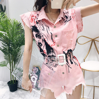 With Belt! Playsuits Rompers Women Graffit Print High Street Overalls Denim Casual New Pink White Playsuits Jumpsuits CC080