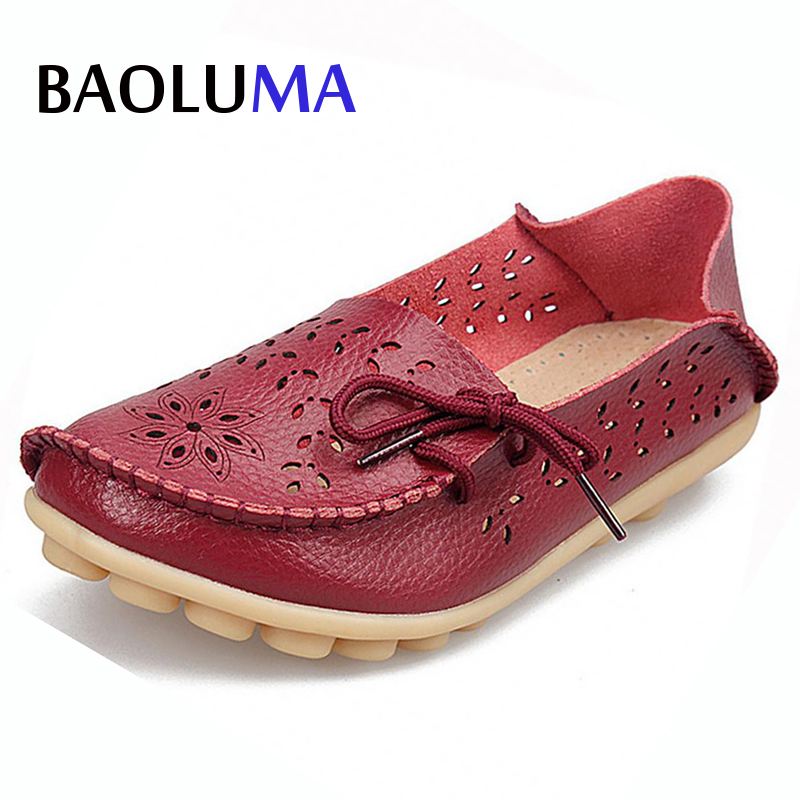 Baoluma Plus Size Ballet Summer Cut Out Women Genuine Leather Shoes Woman Flat Flexible Round Toe Nurse Casual Fashion Loafer 2017 summer new women fashion leather nurse teacher flats moccasins comfortable woman shoes cut outs leisure flat woman casual s
