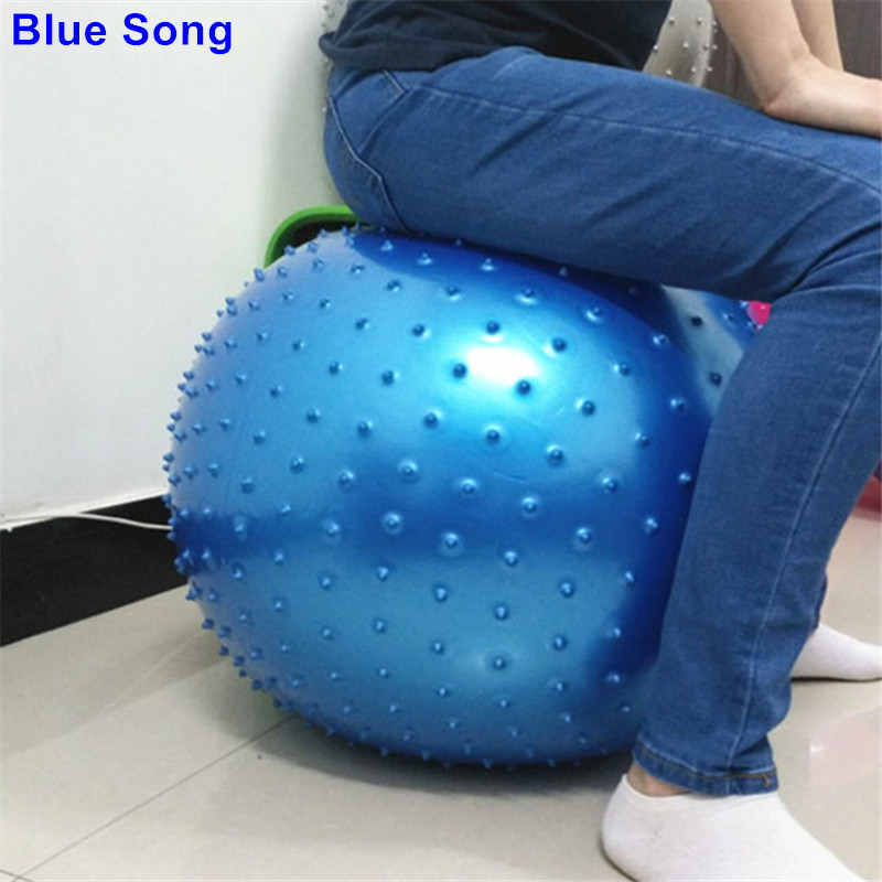 Realistic Genuine Blue Song Thicken 55cm Pvc Barbed Exercise Slim Fitness Massage Yoga Ball Trigger Point Yoga Fitness Ball Pilates Ball