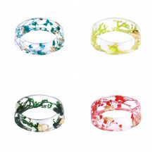 2019 New Fashion Transparent Real Dried Flowers Resin Ring Party Jewelry Cute Rings for Women Romantic
