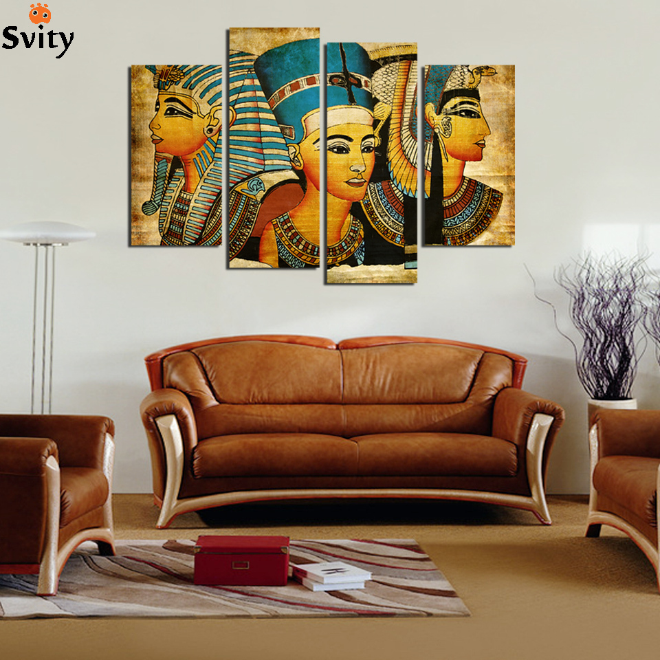 Large wall art canvas pharaoh of egyptian home decoration for Big wall decor