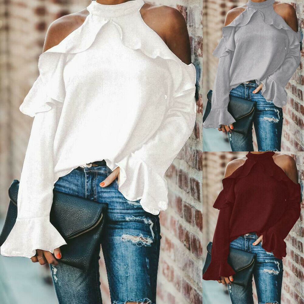 Fashion Women 39 s Ladies Long Sleeve Off Shoulder Shirt Ruffle Loose Casual Blouse Summer Tops in Blouses amp Shirts from Women 39 s Clothing