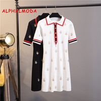 ALPHALMODA 2019 Summer Vogue Fashion Embroidery Bees Knitting Dress Polo Collar Short sleeved Stylish Trendy Embroidered Vestido