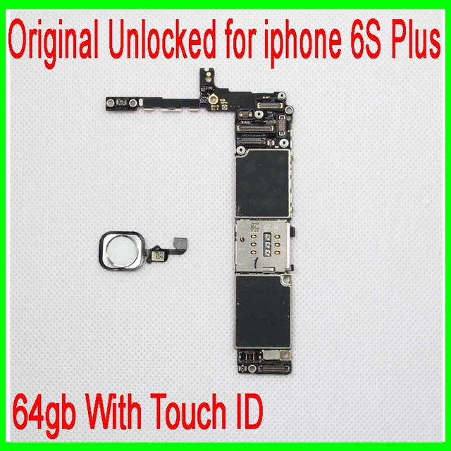 White for iphone 6s Plus Motherboard with Touch ID,64gb original unlocked for iphone 6s plus