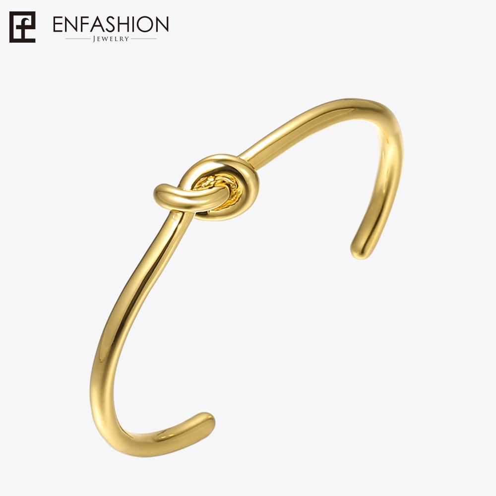 Enfashion Wholesale Knot Cuff Bracelet Manchette Rose Gold color Bangle Bracelet For Women Bracelets Bangles Pulseiras delicate double layered cuff bracelet for women