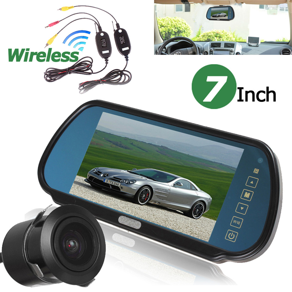 7 Inch Car Rearview Monitor+Car Backup Camera+Video Transmitter and Receiver Kits 480 x 234 LCD Widescreen 2-Channel Video Input