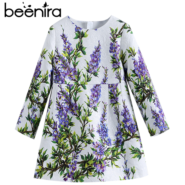 Beenira Children Autumn Dresses 2019 New Fashion Style Kids Long-Sleeve Lavender Pattern Dress Design 4-14 Year Baby Girls Dress