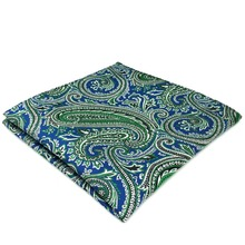 DH29 Blue Green Paisley Mens Pocket Square Silk Classic Handkerchief