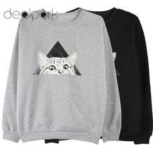 Kobiet bluza 2019 jesień swetry geometryczny kot drukuj bluzy O-neck długie rękawy sweter góry kobiet tuniki Streetwear Lady tanie tanio Kobiety Poliester Na co dzień Suknem Pełna REGULAR women sweatshirt Approx 160-200g 5 6-7 1oz Cat Printed