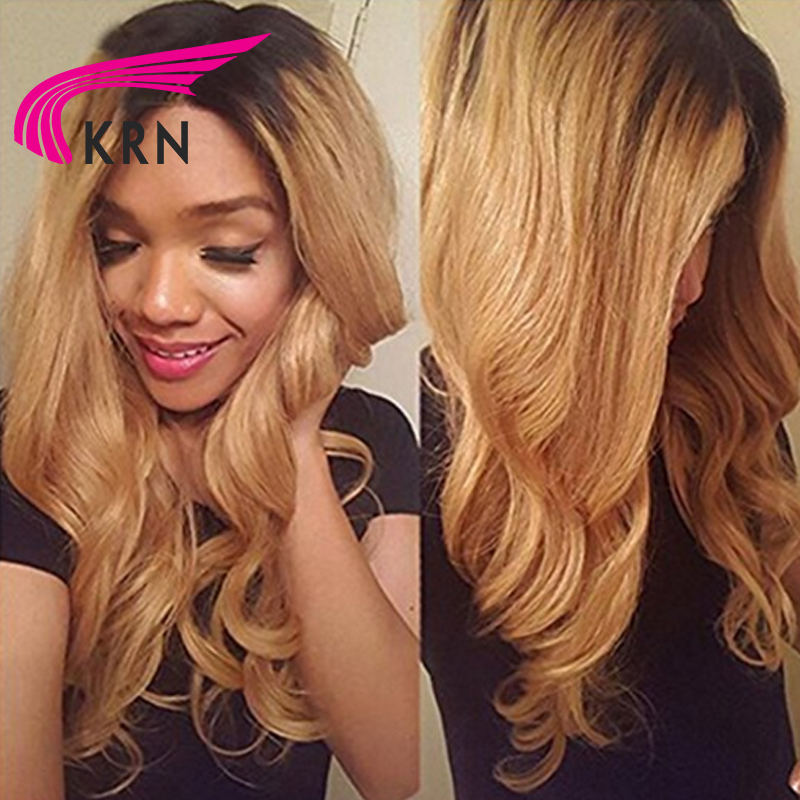 KRN 150 Density Ombre Color Glueless 360 Lace Front Wig 10 22 Inch Body Wave Remy Hair Pre Plucked Brazilian Human Hair Wigs