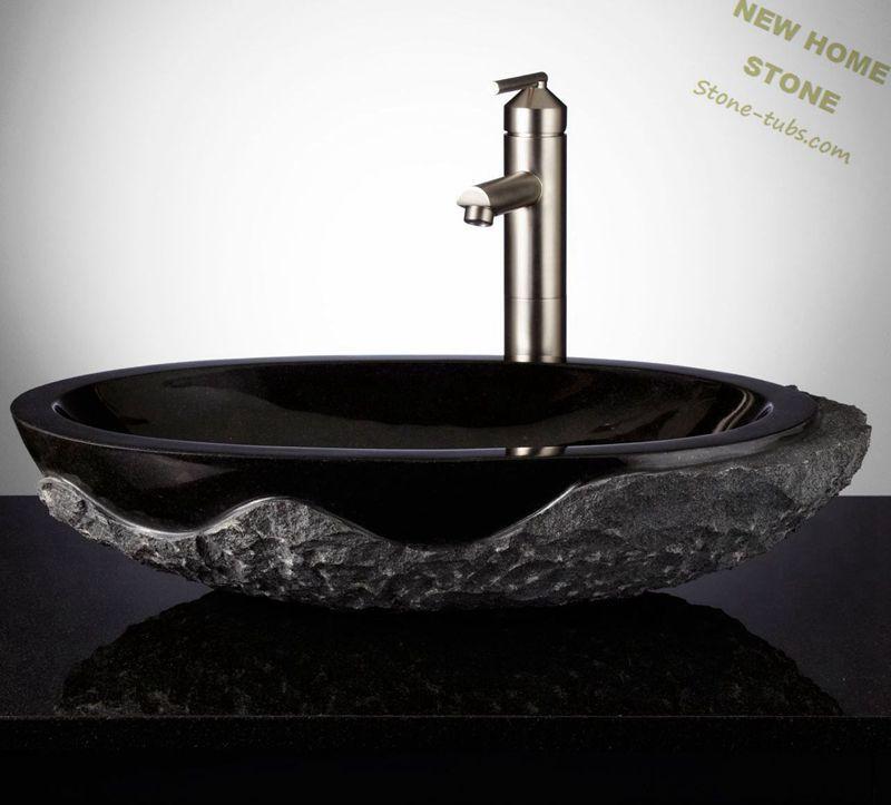black granite vessel sink oval shape rough outside classic style design bathroom vanity sink granite block cut out
