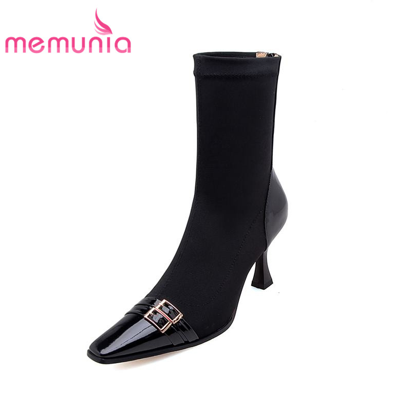 MEMUNIA cloth+genuine leather boots woman in autumn winter boots for women sexy square toe thin heels ankle boots female shoesMEMUNIA cloth+genuine leather boots woman in autumn winter boots for women sexy square toe thin heels ankle boots female shoes