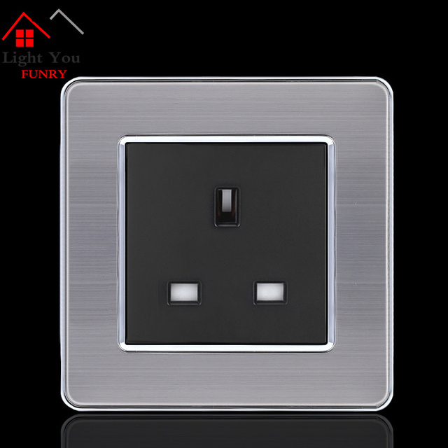13A European Wall Socket Outlet 86 Type UK Standard Wall Charger Adapter Stainless Steel Panel Kitchen Bedroom Plug Sockets