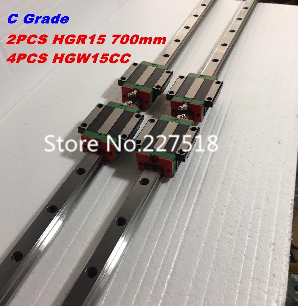 15mm Type 2pcs  HGR15 Linear Guide Rail L700mm rail + 4pcs carriage Block HGW15CC blocks for cnc router high quality 15mm precision linear guide rail 1pcs trh15 l 1400mm 2pcs trh15b square linear block for cnc