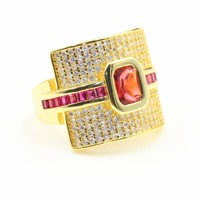 Victoria New Arrival Top Selling Women's Fashion Jewelry 925 Sterling Silver&Gold Fill Princess Red CZ Women Wedding Finger Ring