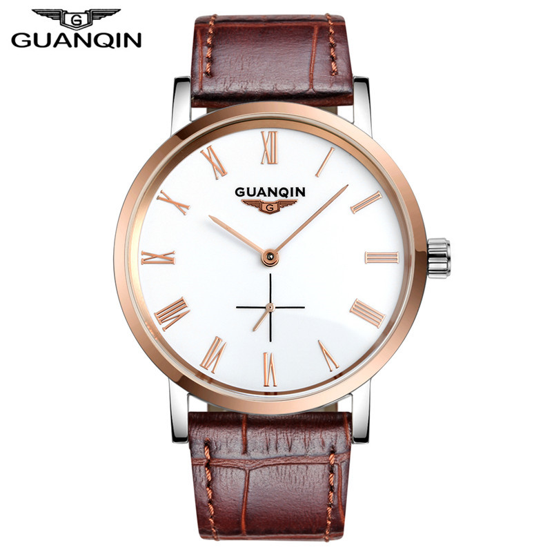 GUANQIN Men watches fashion watch brand Ultra thin Waterproof 100 automatic wrist watch watch men luxury wristwatches Guaranteed ultra luxury 2 3 5 modes german motor watch winder white color wooden black pu leater inside automatic watch winder