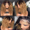 T#4/#27 Ombre Wigs 180% Full Glueless Lace Front Human Hair Wigs Curly Two Tone Ombre Full Lace Wigs Dark Roots Hair Wigs