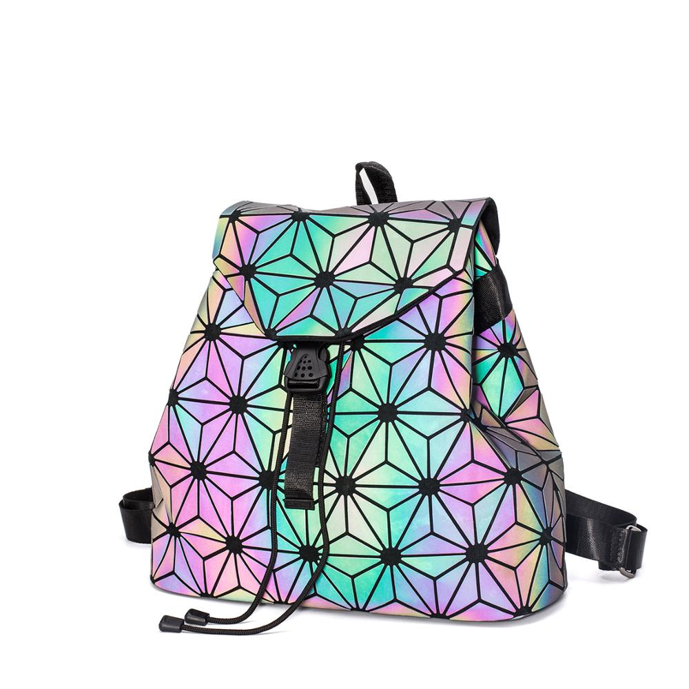 Women Laser Luminous Backpack School Hologram Geometric Fold Student School Bags For Teenage Girls Daily Holographic Sac A Dos