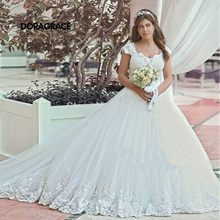 vestidos de novia Romantic Applique Tulle Cap Sleeve Princess Wedding Gowns Designer Dresses DG0101
