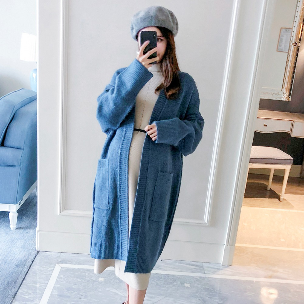 Pregnant women fall and winter coat long section 2018 new fashion loose maternity Korean pregnant knit cardigan недорго, оригинальная цена