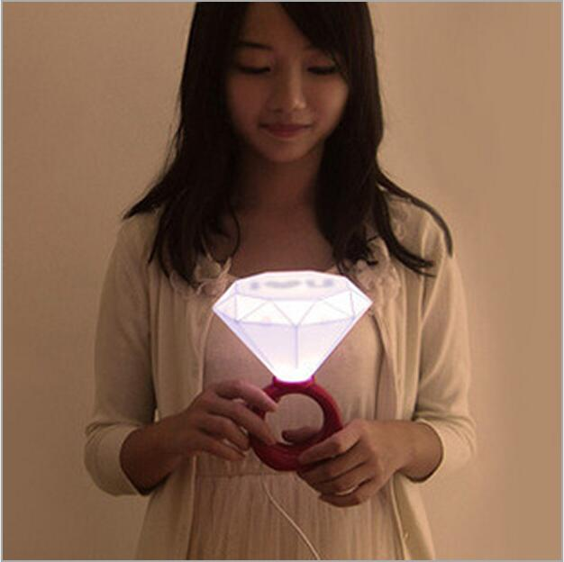 USB Diamond Ring light romantic LED night light Valentines Day gift birthday lamps bedroom bedside EU US Adapter storage box ...