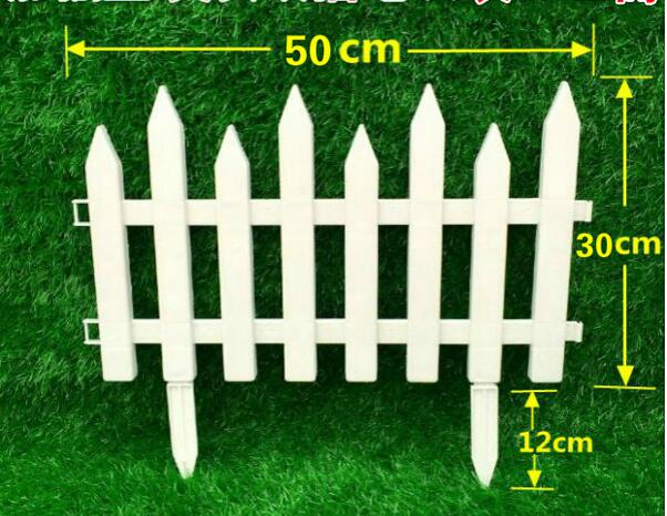 Free Shipping,W50cm,H42cm.10pcs,Pointed Plastic Fence Garden White  Decorated Garden